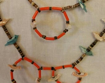 Double Strand, Multi Colored, Zuni Bird Necklace, Southwestern Jewelry, Estate Jewelry, Old Pawn, Heishi Necklaces,  (#36)