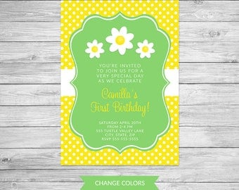 Daisy Birthday Invitation, Daisy Birthday Party Invite, Daisy, Floral, Flower Birthday