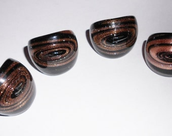 Glass dome rings fused black with gold sparkle 1990s vintage jewelry LAST ONE SZ 7.5