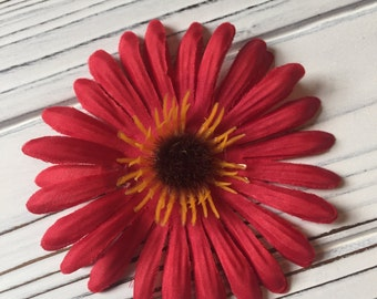 Red Daisy Flower Hair Clip with Orange and Brown Center