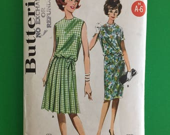 1960's Butterick Dress Pattern #2140 Blouse Bodiced Dress with Knife-Pleated or Slim Skirt- Size 14, Bust 34- Partially Cut, Complete