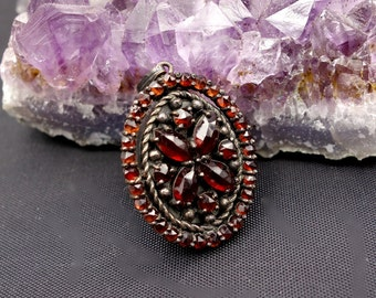 Bohemian Garnet Locket with Chain  Vintage, January Birthstone, Vintage Garnet Locket