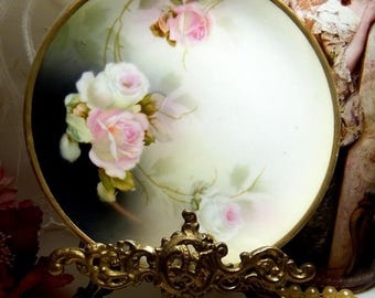 Vintage Pink and White Rose Plate // Reinhold Schlegelmilch // RS Germany // Tillowitz // circa. 1920