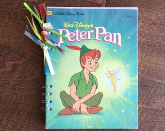 Peter Pan Disney Autograph Book - Disneyland Autograph book - Peter Pan Journal - Peter Pan Upcycled Little Golden Book