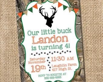 Camo Hunting Birthday Invitation  - PRINTABLE