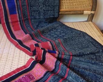 Vintage Ethnic Hmong Hemp Indigo Batik Tribal Textile Rare Handmade Cross stitch Craft supplies