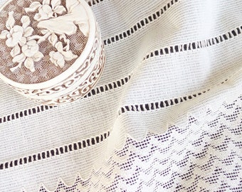 """15"""" Wide White Natural Pure Cotton Lace Vintage Stripes Scalloped Texture, Extra Wide Lace Trim for Sewing, Wedding Decorations Vintage"""