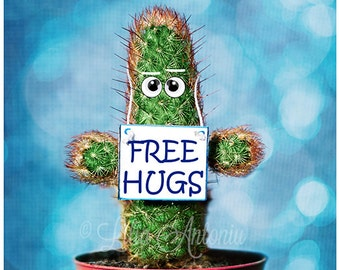 Free Hugs Kawaii Fine Art Photography Lovely Funny Face Nursery Wall Art Decor Cactus Green Blue Room Creative Artwork for Kids Room Love