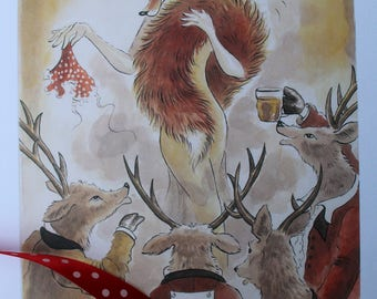 Stag Party - Limited edition print by Leila Winslade of Farcical Foxes