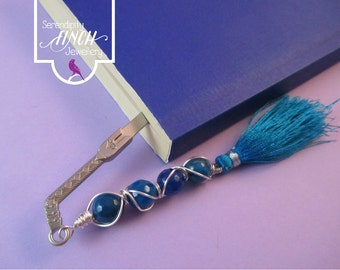 Sword Book, Blue Faceted Agate Wire Wrapped Bookmark, Blue Bookmark, UK