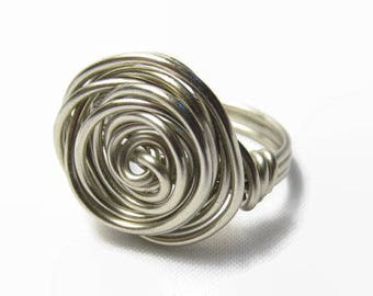 Sterling Silver Ring, Wire Rose Ring, Size 4 5 6 7 8 9 10 11 12 13 14, Wire Wrapped Jewelry Handmade, Statement Ring, Bold Ring, Spiral Ring