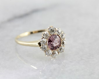 Gorgeous Pink Sapphire and Old Mine Cut Diamond Halo Ring 0HCP0W-N