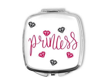 Princess Mirror, Mothers Day, Compact Mirror, Girls Birthday, Gift for Her, Purse Mirror, Party Favors, Gift under 15, Pocket Mirror, BFF