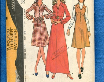 1970's McCall's 3305 Slimming A-Line Dress with Large Pointed Collar Size 14 UNCUT