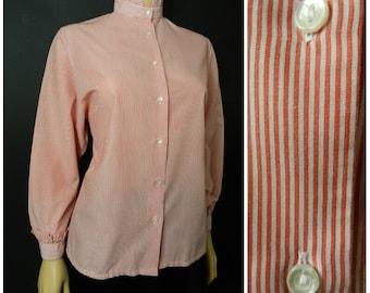80's COTTON polyester high neck pinstripe red + white Victoriana ruffle blouse u.k. 12 - 14 m