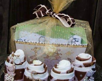 Safari Baby Shower Gift, Zoo Baby Shower Gift Basket, Mini Diaper Cake Gift Basket