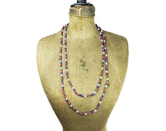 Long Glass Bead Necklace, Long Red and Blue Bead Necklace, Long Beaded Necklace, Long Bead Necklace