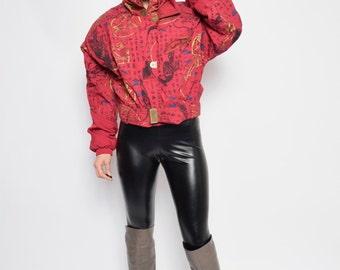 Vintage 80's Burgundy Ski Jacket / Abstract Print Skiing Jacket / Zipper Belted Ski Jacket - Size Large