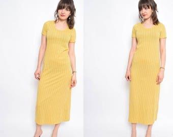 Vintage 90's Pinstriped Yellow Maxi Dress / Lemon Yellow Cotton Dress / Maxi Summer Dress - Size Small