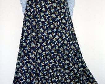 Laura Ashley vintage navy floral slip-on cotton jersey A-line maxi skirt Small