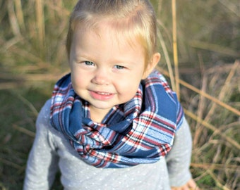 Red White Blue Plaid Toddler Scarf - Red White Blue Buffalo Check Toddler Scarf - Toddler Flannel Infinity Scarf