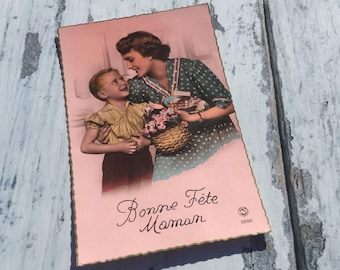 Postcard Vintage . French card . Mother and Son . Vintage Postcard . Mothers Day Postcard .