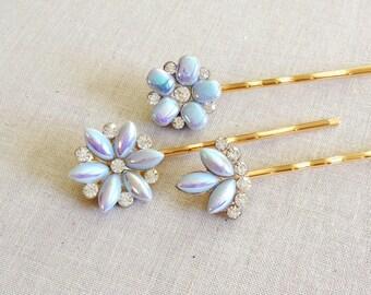 Pale Pastel Blue Pearl Rhinestone hair pins, set, wedding hair accessory, light blue, something blue, bridesmaid gift, bobby pins, set of 3