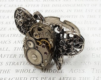 Steampunk Butterfly Ring- -Watch Part Rings- Vintage Butterfly Jewelry Gift for Steampunk Loving Friend