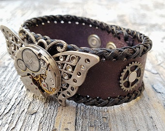 Steampunk Butterfly Leather Wristband Cuff-Steampunk Bracelet-Steampunk cuff-steampunk leather cuff-Girlfriend Ladies gift-steampunk cosplay