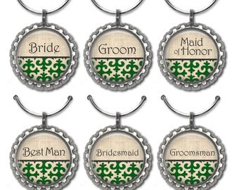 Emerald green wedding favors personalized wine glass charms custom Irish drink tags place cards.