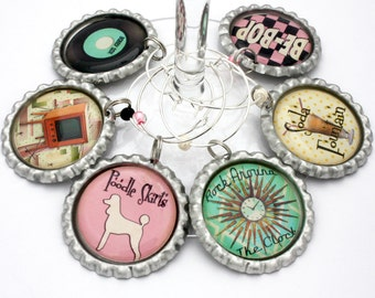 Fifties party favors 1950's theme party wine charms retro drink tags sock hop.