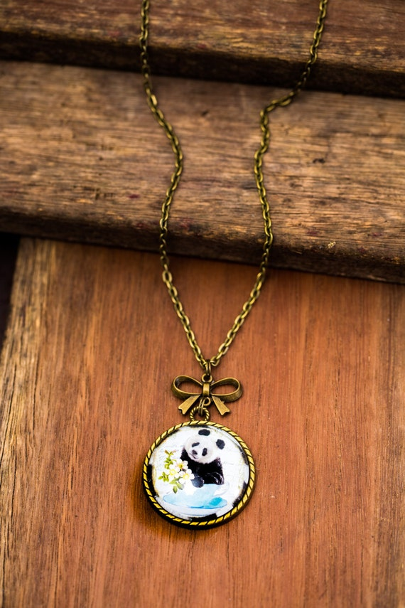 FREE SHIPPING - **NEW** Panda In A Teacup 30mm Bronze Lace & Bow Pendant Necklace - Unique - Vintage - Gorgeous Gift - Love