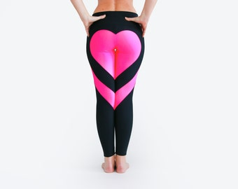 Heart Leggings, Black Leggings, Heart Booty Pants, Black Yoga Pants, Sexy Yoga Pants, Workout Tights, Black Leggings, Glow In The Dark Pants