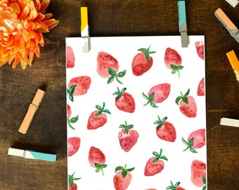 Strawberry Watercolor Print INSTANT DOWNLOAD