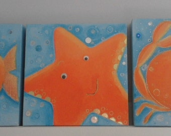 Set of 3 sea themed paintings