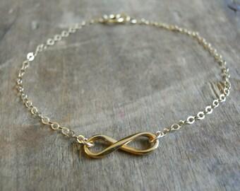Gold Infinity Bracelet, Delicate Infinity Bracelet, Gold Bracelet, Minimal Gold Filled Bracelet, Dainty Everyday Gold Bracelet, #550