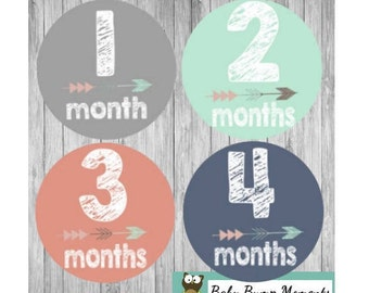 Baby Month Stickers Girl, Monthly Baby Stickers, Tribal Baby Stickers, Monthly Milestone, Milestones Baby Gift, Arrows, Teal and Coral