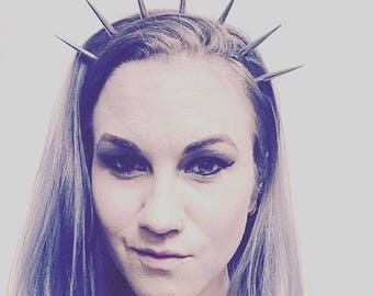 Queen of the Damned Spike Crown, Spike Headband, Embossed Leather Headband, Leather Headband with Buckle