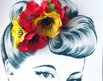 Autumn Anemone Pin Up Hair Flower Vintage Comb