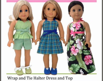 Pixie Faire Sweet Pea Fashions Wrap & Tie Halter Dress and Top Doll Clothes Pattern  for 18 Inch Dolls Such as American Girl - PDF