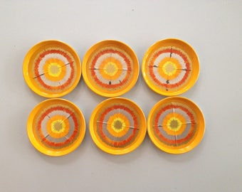 Decorative 6 Vintage, used metal Coasters Beer Pads / Mats / Coasters / 70 s / orange yellow gold silver / sun / star / IRA Denmark