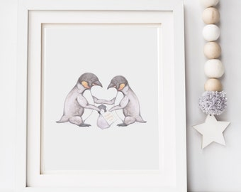 Baby decor, nursery art print, penguin illustration, nursery wall art, childrens illustration, wall art, nursery decor, new baby, baby gift
