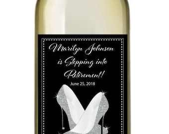 Stepping into Retirement Wine Labels • Personalized Retirement Wine Label - Glitter Heels