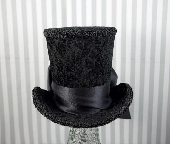 Black on Black Brocade with Bow Minimalist Large Mini Top Hat Fascinator, Alice in Wonderland, Mad Hatter Tea Party, Derby Hat