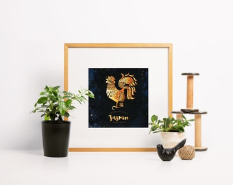 Chinese new year, customised, year of the rooster, lunar new year, happy fortune luck, personalised, baby room decor, gold constellation art