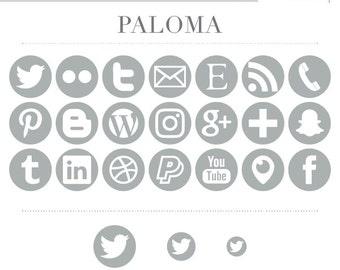 Social Media Icons - Light Pastel Gray Paloma - Instant Download - Facebook Periscope Twitter Snapchat Etsy Pinterest Instagram
