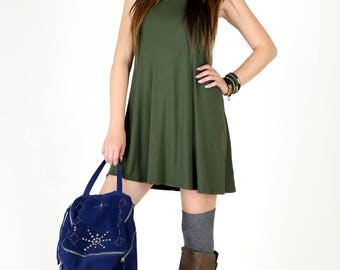 Ultra Soft Olive Jersey Fit and Flair Swing Dress