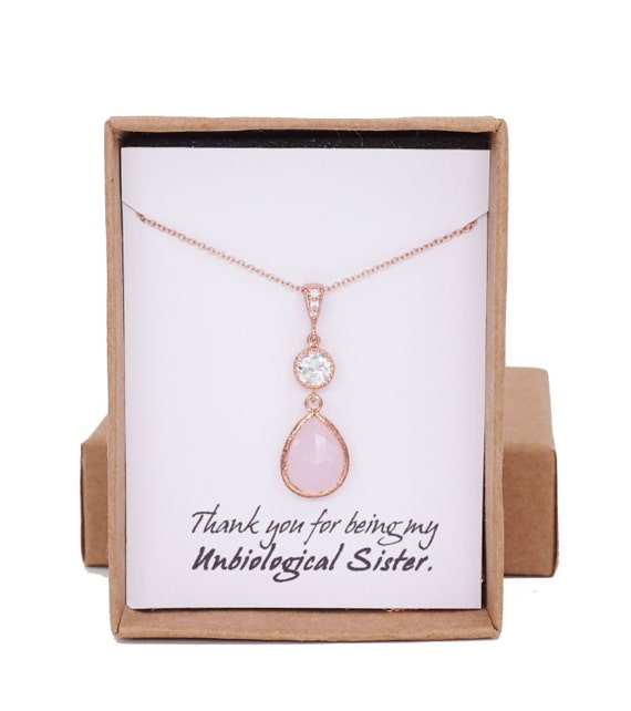 Rose Gold FILLED Light Pink Crystal Teardrop Necklace - rose gold weddings brides bridesmaid bridal shower gifts, crystal necklace
