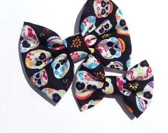 Sugar Skull Skeleton Handmade Fabric Hair Clip or Headband Bows