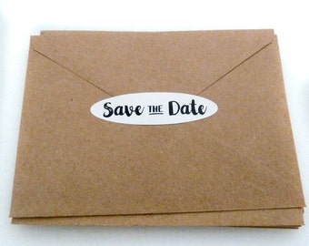 Save the Date Sticker - 28 Count - 22 Colors - Envelope Seal - 2.75 x 0.75 in. - Save the Date Seal - Wedding Sticker - Oval Sticker - WS3